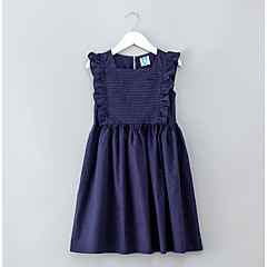 billige Pigekjoler-Børn Pige Simple / Aktiv Ferie Ensfarvet Kortærmet Kjole / Bomuld