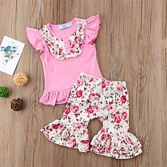 billige Tøjsæt til piger-Baby Pige Aktiv Ferie / I-byen-tøj Blomstret Tunika / Drapering / Blomster Uden ærmer Normal Normal Bomuld / Polyester Tøjsæt Lyserød 100 / Sødt