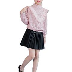 billige Pigetoppe-Pige Daglig Ensfarvet Trykt mønster Skjorte, Bomuld Polyester Forår Efterår Langærmet Simple Afslappet Hvid Lyserød