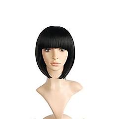 tanie Peruki syntetyczne-Syntetyczna peruka damska krótki yaki prosto średni brąz naturalny hairline fryzura bob z bangs party peruka celebrity peruka cosplay