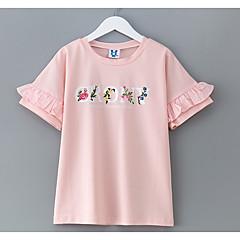 billige Pigetoppe-Børn Pige Simple Ensfarvet Kortærmet Bomuld T-shirt