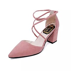 Mulheres Sapatos Couro Ecológico Primavera / Verão Conforto / Plataforma Básica Sandálias Salto Agulha Dedo Apontado Presilha Preto /