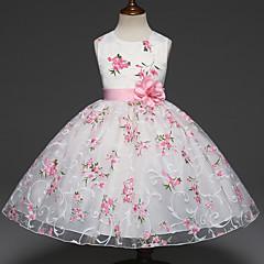 tanie Odzież dla dziewczynek-Dzieci Dla dziewczynek Słodkie Impreza Kwiaty Warstwy materiały / Żakard Bez rękawów Sukienka Biały