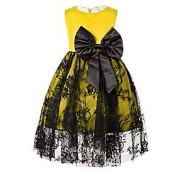 baratos Roupas de Meninas-Menina de Vestido Diário Sólido Verão Algodão Poliéster Sem Manga Simples Azul Vermelho Amarelo