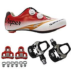 baratos Sapatos de Ciclismo-SIDEBIKE Homens Sapatilhas de Ciclismo com Travas & Pedal / Tênis para Ciclismo Couro Ecológico / Nailom e Fibra de Carbono Almofadado