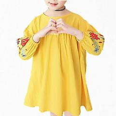 baratos Roupas de Meninas-Menina de Vestido Diário Floral Primavera Outono Algodão Poliéster Manga Longa Simples Fofo Azul Marinha Amarelo