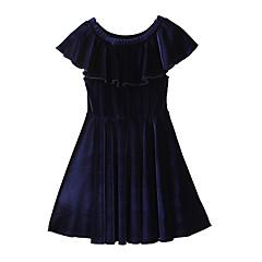 billige Pigekjoler-Pigens Kjole Daglig I-byen-tøj Ensfarvet, Bomuld Polyester Forår Sommer Kortærmet Simple Boheme Marineblå