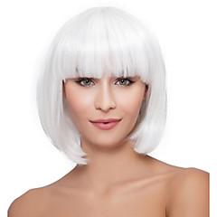 tanie Peruki syntetyczne-Peruki syntetyczne Kędzierzawy Fryzura Bob Z grzywką Naturalna linia włosów Gęstość Bez czepka Damskie Biały Celebrity Wig Peruka