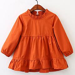 billige Jenteklær-Jentas Daglig Ferie Kjole Ensfarget Bomull Vår Sommer Langermet Enkel Vintage Oransje Gul
