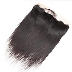 billiga Peruker och hårförlängning-Guanyuwigs Dam Rak 4x13 Stängning Brasilianskt hår Schweizisk spetsperuk Äkta hår Fria delen Mittparti 3 Del Med Babyhår Mjuk Silkig Med