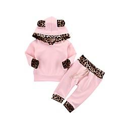 billige Tøjsæt til piger-Baby Pige Aktiv Ensfarvet / Leopard Langærmet Bomuld Tøjsæt / Sødt