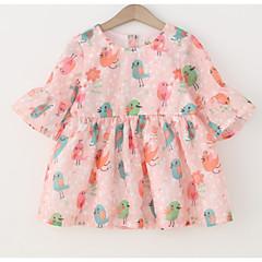 baratos Roupas de Meninas-Bébé Para Meninas Básico Diário / Feriado Floral Estampado Meia Manga Algodão Vestido Branco 100