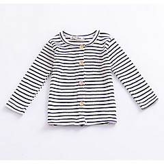 billige Sweaters og cardigans til babyer-Nyfødt Pige Vintage Stribet Trykt mønster Langærmet Bomuld Trøje og cardigan