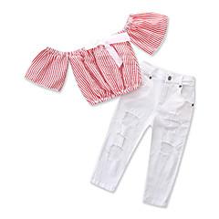 billige Tøjsæt til piger-Børn Baby Pige Stribet Kortærmet Tøjsæt