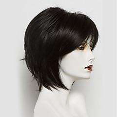 Χαμηλού Κόστους Χωρίς κάλυμμα-Ανθρώπινες περούκες περούκες μαλλιών Φυσικά μαλλιά Ίσιο Κούρεμα καρέ Φυσική γραμμή των μαλλιών Φύση Μαύρο Μηχανοποίητο Περούκα Γυναικεία