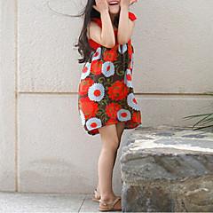 baratos Roupas de Meninas-Menina de Vestido Final de semana Praia Sólido Verão Algodão Floral Vermelho