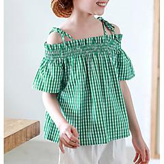 baratos Roupas de Meninas-Infantil Para Meninas Houndstooth Manga Curta Fibra Sintética Camiseta Verde / Fofo