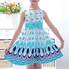 baratos Roupas de Meninas-Bébé Para Meninas Simples / Activo / Doce Estampa Colorida Laço / Estampado Sem Manga Vestido