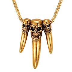 abordables Collares-Hombre Collares con colgantes  -  Acero inoxidable Calavera Moda Dorado, Plata 55 cm Gargantillas 1pc Para Diario