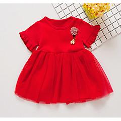 billige Babykjoler-baby pige daglige solidfarvede kjole, polyester sommer søde korte ærmer gul rød hvid 120 110 100 90