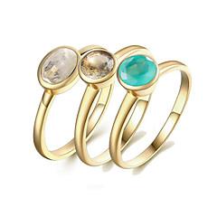 Χαμηλού Κόστους Ring Set-Γυναικεία Σετ δαχτυλιδιών Πολύπετρο 3pcs Χρυσό S925 Sterling Silver 18Κ Επίχρυσο Circle Shape Ευρωπαϊκό Δώρο Καθημερινά Κοστούμια
