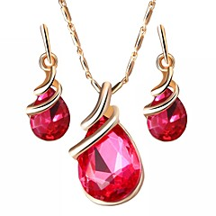 tanie Zestawy biżuterii-Damskie Kryształ austriacki Biżuteria Ustaw Zawierać 1 Naszyjnik Náušnice - Formalna Prosty Kropla Zestawy biżuterii Na Impreza Codzienny