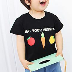 billige Pigetoppe-Unisex T-shirt Mode Tegneserie, Bomuld Sommer Kortærmet Blomster Tegneserie Hvid Sort
