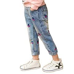 billige Bukser og leggings til piger-Børn Pige Aktiv Ferie Blomstret Trykt mønster Bomuld Jeans / Sødt