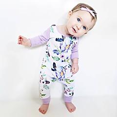 billige Babytøj-Baby Pige Aktiv Ferie Blomstret Blondér / Trykt mønster Langærmet Bomuld Bodysuit / Sødt