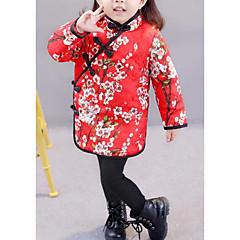 baratos Roupas de Meninas-Menina de Vestido Floral Inverno Outono Floral Vermelho Rosa
