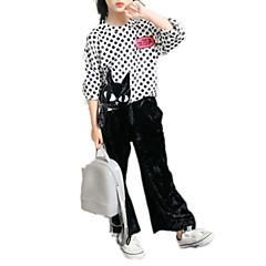 billige Tøjsæt til piger-Børn Pige Aktiv Ferie / I-byen-tøj Trykt mønster / Ruder Tern Mønster / Dyre Mønster / Trykt mønster Rayon Tøjsæt Hvid / Sødt