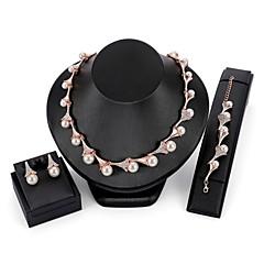 baratos Conjuntos de Bijuteria-Conjunto de jóias - Caído Elegante Incluir Pulseiras em Correntes e Ligações / Brincos Curtos / Colares em Corrente Dourado Para Casamento / Festa de Noite