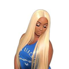 billiga Peruker och hårförlängning-Obehandlad hår Peruk Brasilianskt hår Rak 150% Densitet Med Babyhår Blond Korta Lång Mellanlängd Dam Äkta peruker med hätta