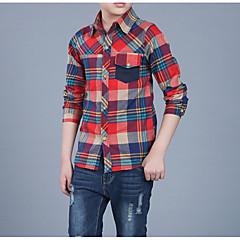 billige Overdele til drenge-Børn Drenge Basale Ternet Langærmet Bomuld Skjorte