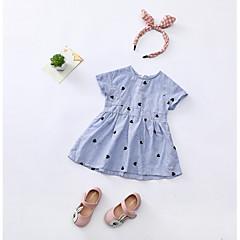 billige Pigekjoler-Børn Pige Stribet Geometrisk Kortærmet Kjole