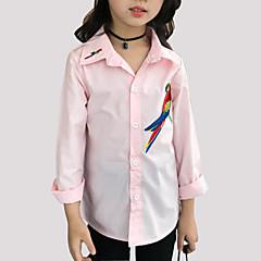 お買い得  ガールズウェア-女の子 日常 刺しゅう コットン シャツ 春 秋 長袖 カトゥーン ホワイト ピンク