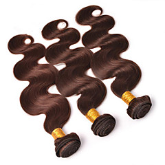 cheap Wigs & Hair Pieces-Brazilian Hair Wavy Virgin Human Hair One Pack Solution Human Hair Extensions Hair Weft with Closure Brown Human Hair Weaves Soft Hot Sale 100% Virgin Human Hair Extensions Women's