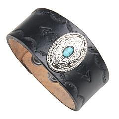 billige -Herre Turkis Læder 1pc Manchetarmbånd Læder Armbånd - Vintage Sej Rock Cirkelformet Sort Brun Armbånd Til Natklub Gade