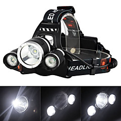 cheap Camping, Hiking & Backpacking-Headlamps Headlight LED Cree® XM-L T6 3 Emitters 3000 lm 4 Mode with Charger Rechargeable, Strike Bezel Camping / Hiking / Caving, Traveling
