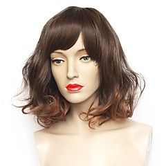 tanie Peruki syntetyczne-Peruki syntetyczne Kędzierzawy Krótki Bob Fryzura cieniowana Fryzura Bob Termoodporny Naturalna linia włosów Brązowy Damskie Bez czepka