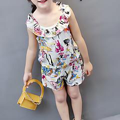 billige Tøjsæt til piger-Baby Pige Basale / Gade Daglig Geometrisk Uden ærmer Normal Normal Bomuld / Polyester Tøjsæt Regnbue 100
