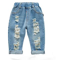 billige Babyunderdele-Baby Unisex Basale Daglig Ensfarvet Hul Bomuld / Polyester Jeans Lyseblå 100