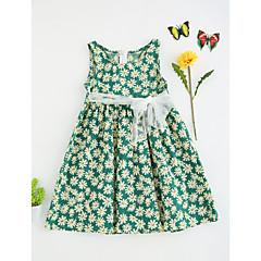 baratos Roupas de Meninas-Menina de Vestido Floral Verão Poliéster Sem Manga Floral Vermelho Verde