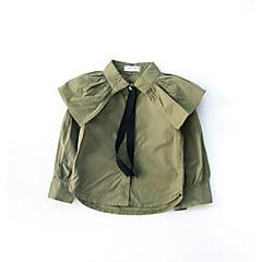 billige Babyoverdele-Baby Pige Aktiv Ensfarvet Langærmet Polyester Skjorte Hvid
