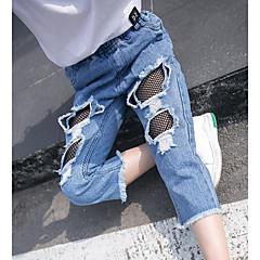 billige Jeans til piger-Børn Pige Aktiv I-byen-tøj Ensfarvet Net / Kvast / Hul Bomuld Jeans