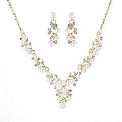 billige Smykke Sett-Dame Retro Smykkesett - Imitert Perle Blad Formet Europeisk, Mote, Elegant Inkludere Brude smykker sett Gull / Sølv Til Fest Bursdag