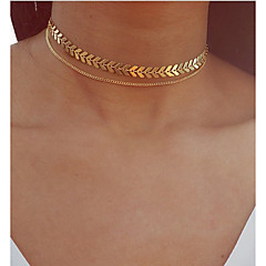 cheap Necklaces-Layered Choker Necklace / Pendant Necklace / Layered Necklace - Leaf Vintage, Bohemian, European Gold, Silver 30 cm Necklace Jewelry For Party / Evening, Gift