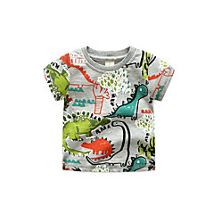 baratos Roupas de Meninos-Infantil Para Meninos Sólido Manga Curta Camiseta