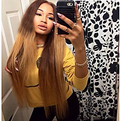 cheap Wigs & Hair Pieces-Virgin Human Hair Full Lace Wig Brazilian Hair Straight Blonde Wig Layered Haircut 130% Density with Baby Hair Ombre Hair Dark Roots Blonde Women's Short Medium Length Long Human Hair Lace Wig Aili