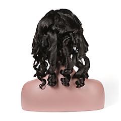 billiga Peruker och hårförlängning-Remy-hår Hel-spets Peruk Brasilianskt hår Loose Curl Peruk 130% Naturlig hårlinje / Med blekta knutar Dam Korta Äkta peruker med hätta